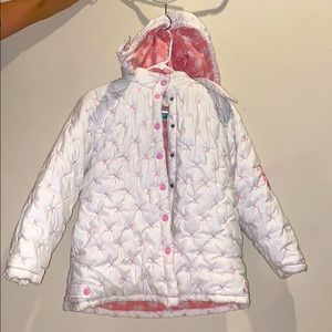 Removable Hoodie: White/Pink Floral Winter Coat!
